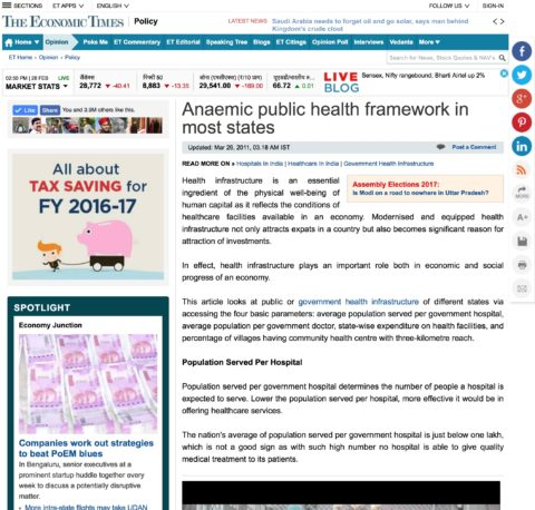Anaemic Public Health Framework in Most States