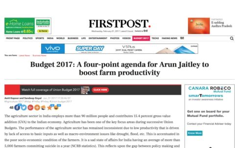 Budget 2017: A four-point agenda for Arun Jaitley to boost farm productivity