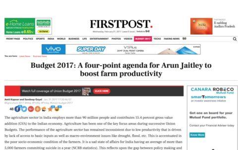 Budget 2017: A four-point agenda for Arun Jaitley to boost farm productivity