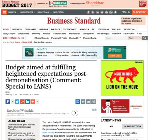 Budget aimed at fulfilling heightened expectations post-demonetisation
