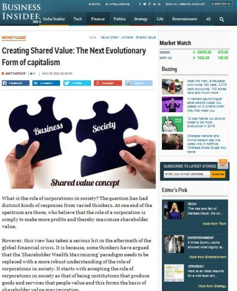Creating Shared Value: The Next Evolutionary Form of capitalism