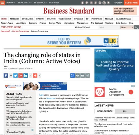 The changing role of states in India