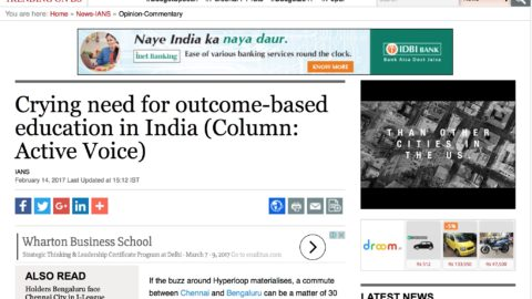 Crying need for outcome-based education in India