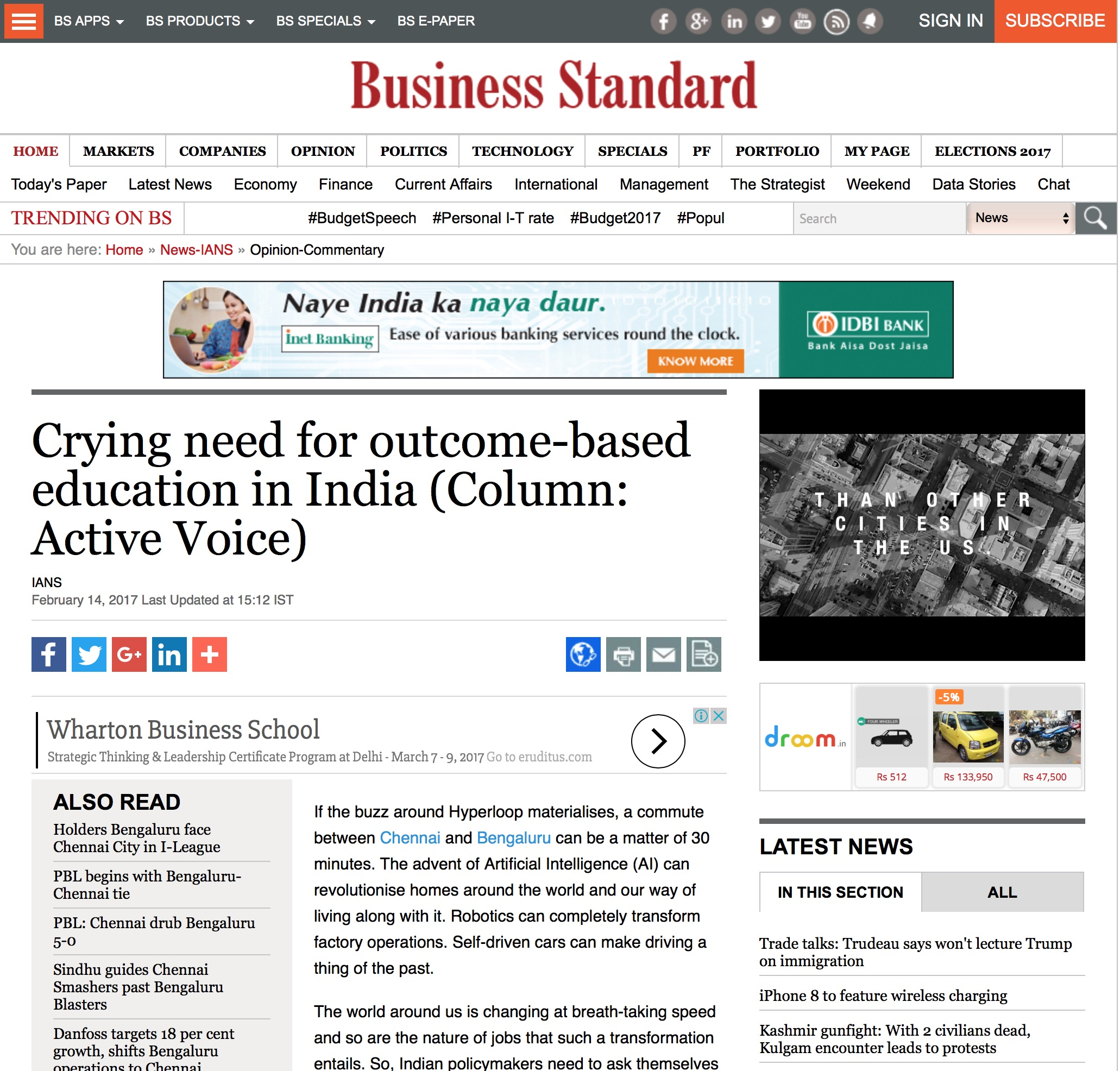 Category/education - Crying Need For Outcome Based Education In India