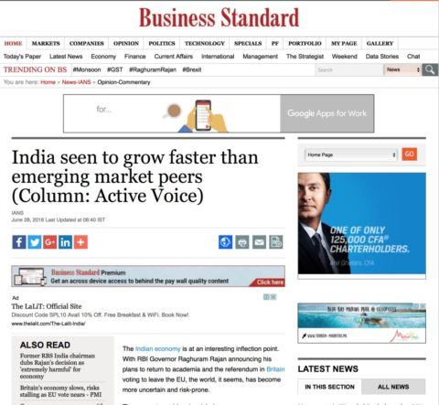 India seen to grow faster than emerging market peers