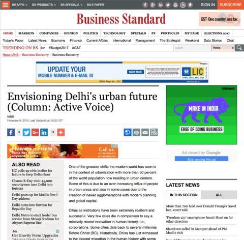 Envisioning Delhi's urban future