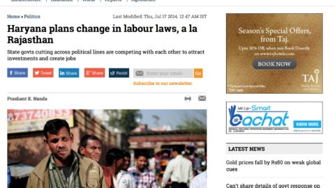 Haryana plans change in labour laws, a la Rajasthan