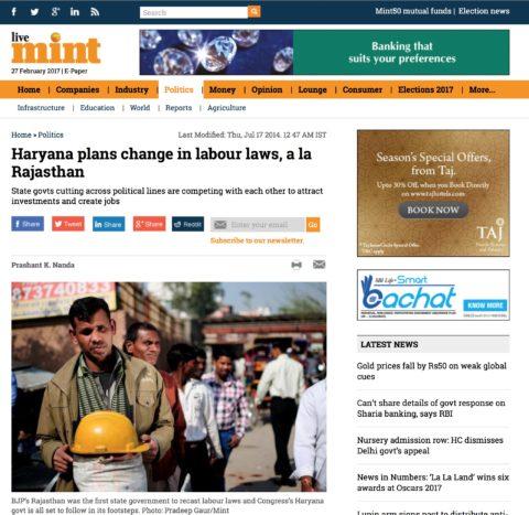 Haryana plans change in labour laws, a la Rajasthan