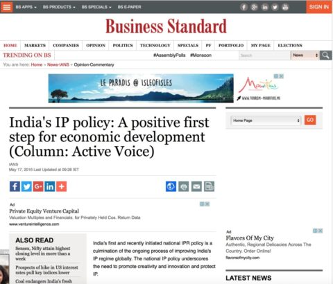 India's IP policy: A positive first step for economic development