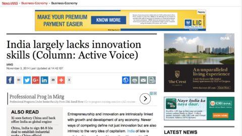 India largely lacks innovation skills