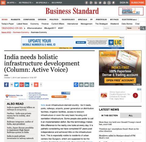 India needs holistic infrastructure development