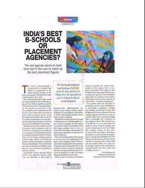 India's Best B'Schools or Placement Agencies