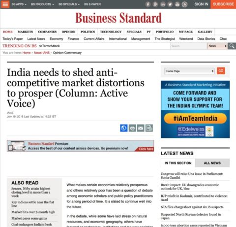 India needs to shed anti-competitive market distortions to prosper