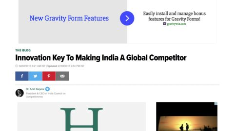 Innovation Key To Making India A Global Competitor