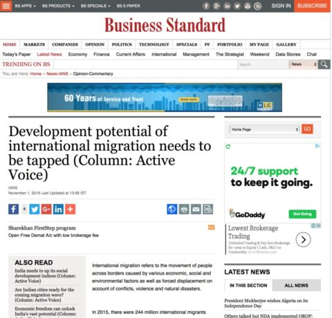 Development potential of international migration needs to be tapped