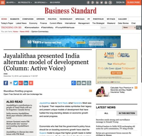 Jayalalithaa presented India alternate model of development