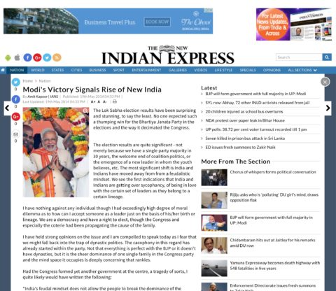 Modi's Victory Signals Rise of New India