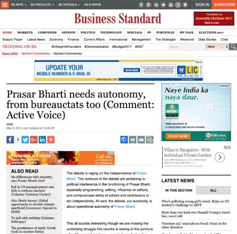 Prasar Bharti needs autonomy, from bureauctats too