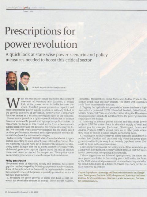 Prescriptions for power revolution