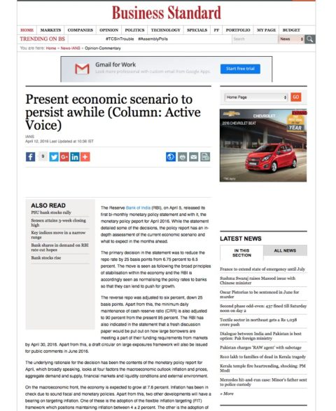 Present economic scenario to persist awhile