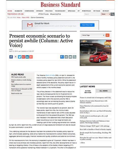 Present economic scenario to persist awhile