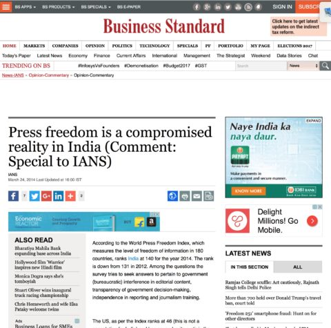 Press Freedom is a compromised reality in India