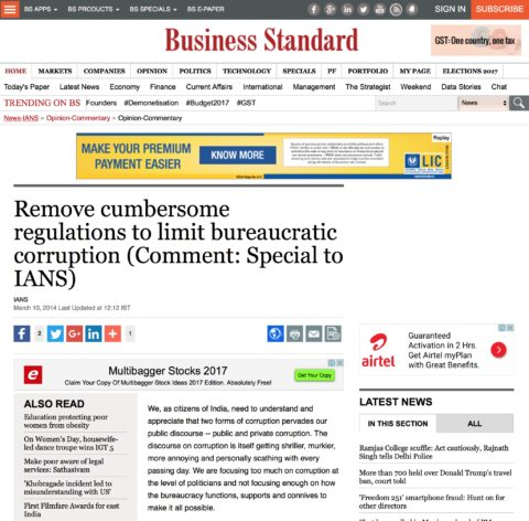Remove cumbersome regulations to limit bureaucratic corruption