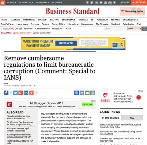 Remove cumbersome regulations to limit bureaucratic corruption
