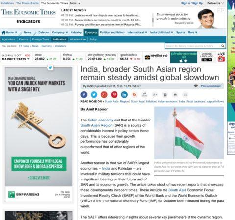 India, broader South Asian region remain steady amidst global slowdown