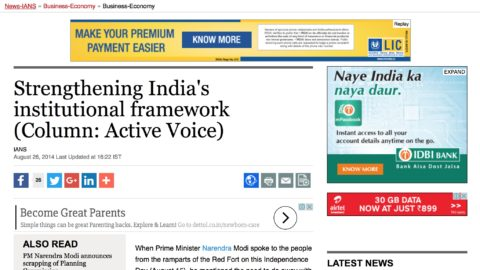 Strengthening India's institutional framework