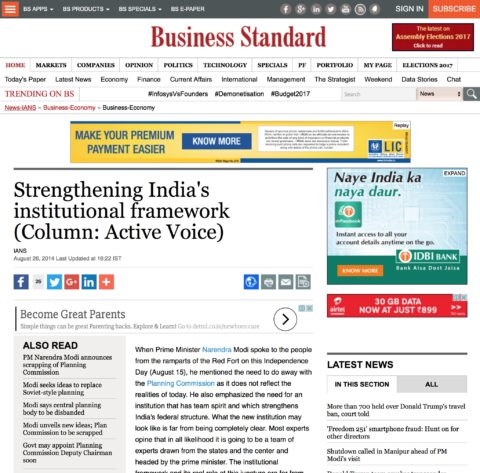 Strengthening India's institutional framework