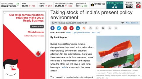Taking stock of India's present policy environment