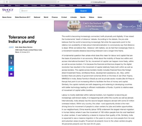 Tolerance and India's Plurality