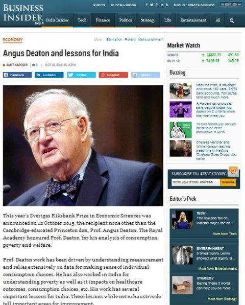 Angus Deaton and lessons for India