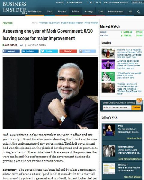Assessing one year of Modi Government: 6/10 leaving scope for major improvement
