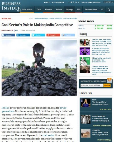 Coal Sector's Role in Making India Competitive