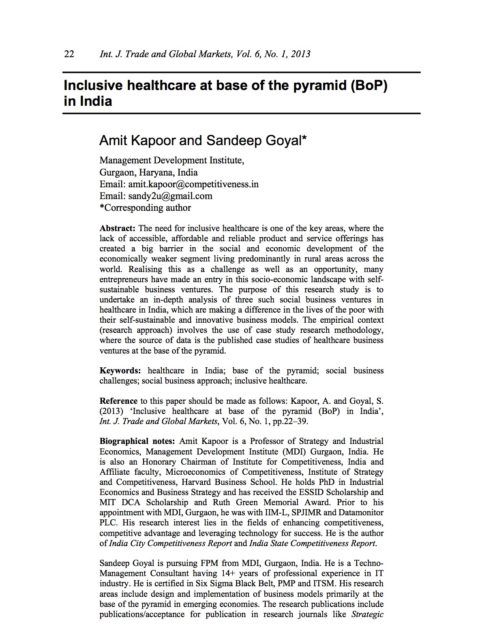 Linking up: inclusive business models for access to energy solutions at base of the pyramid in India