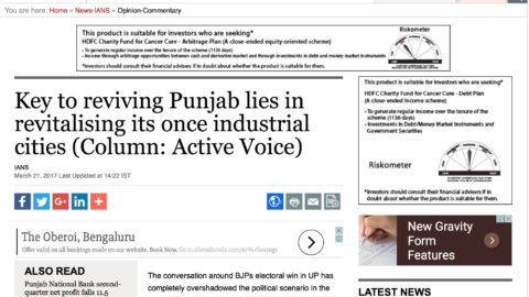 Key to reviving Punjab lies in revitalising its once industrial cities