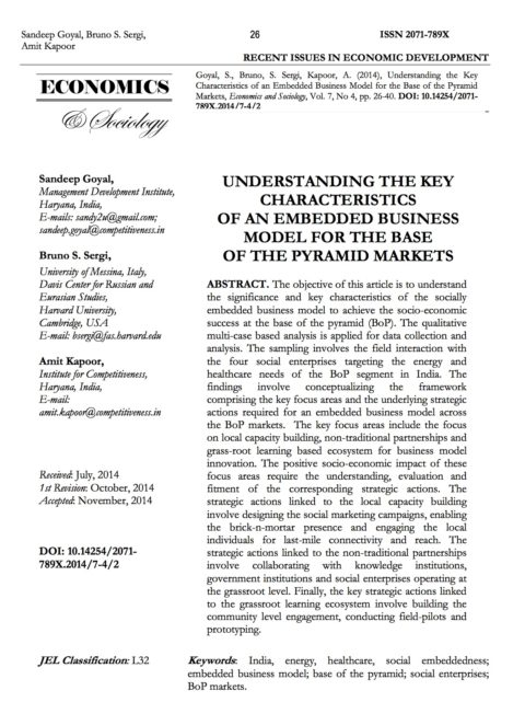 Understanding the key characteristics of an embedded business model for the base of the pyramid markets