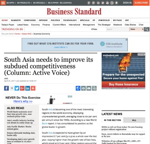South Asia needs to improve its subdued competitiveness