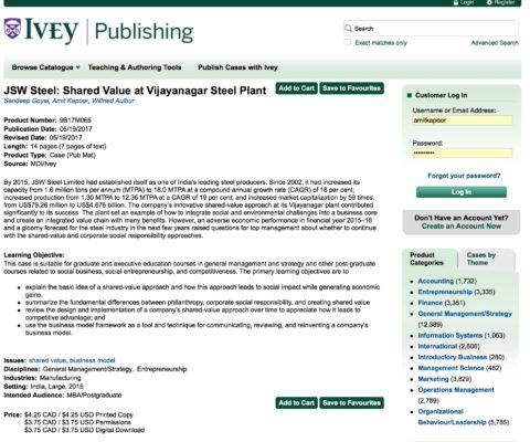 JSW Steel: Shared Value at Vijayanagar Steel Plant (Ivey Publishing)