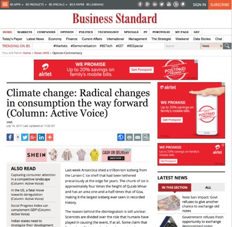 Climate change: Radical changes in consumption the way forward