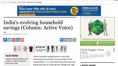 India's Evolving Household Savings