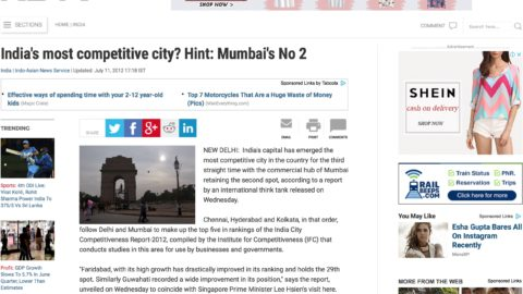 India's most competitive city? Hint: Mumbai's No 2