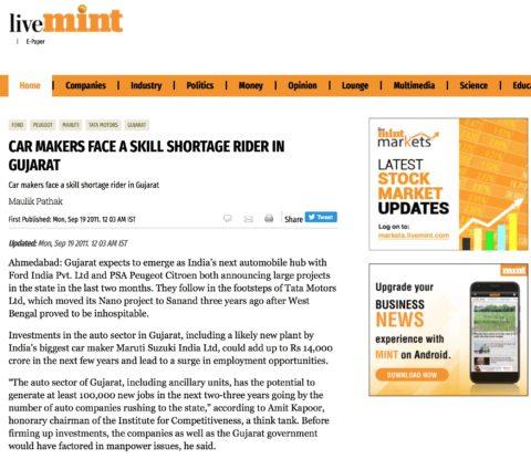 Car Makers Face a Skill Shortage Rider in Gujarat