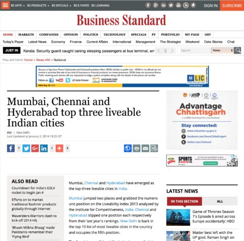 Mumbai, Chennai and Hyderabad top three liveable Indian cities