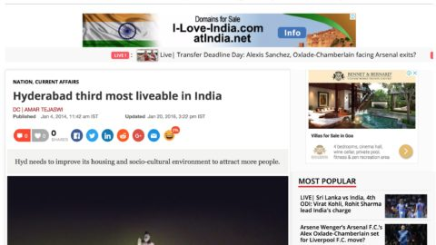 Hyderabad third most liveable in India