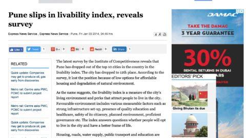Pune slips in livability index, reveals survey