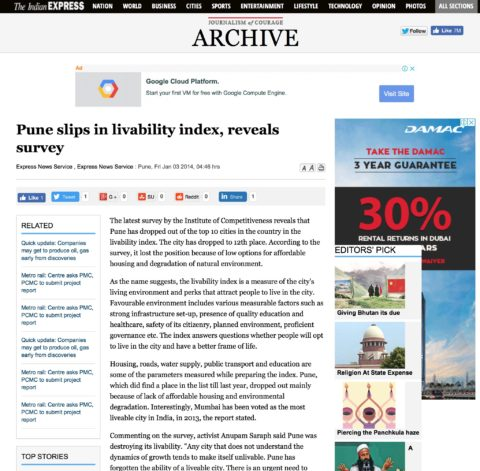 Pune slips in livability index, reveals survey