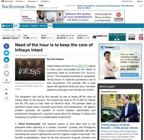 Need of The Hour is to Keep Core of Infosys Intact